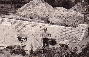 Bauarbeiter beim Bau des Autohauses Buchholz 1969